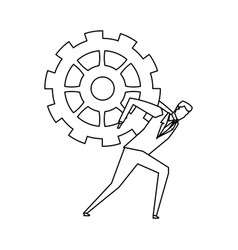 Business person and gear icon image vector