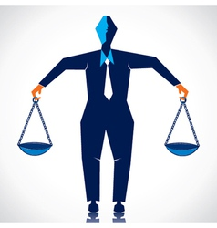Businessmen weighing equal weight vector