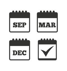 Calendar icons september march december vector