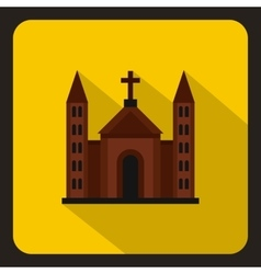 Christian catholic church building icon flat style vector