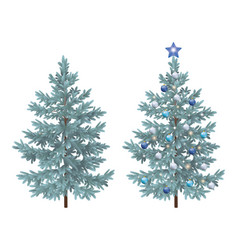 christmas spruce fir trees with ornaments vector image vector image