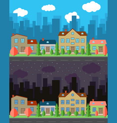 City with four houses vector