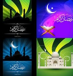collection of attractive design of ramadan kareem vector image vector image