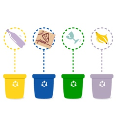 colorful recycle bins vector image vector image