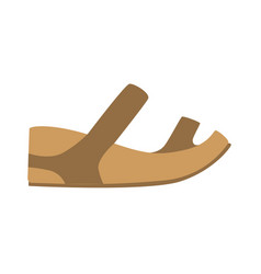Comfortable leather sandal isolated footwear flat vector