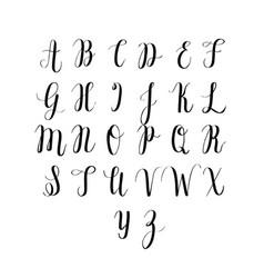 Digitally drawn calligraphy alphabet vector