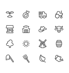farm element black icon set on white background vector image