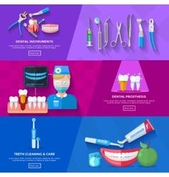 Flat Banner Dentist vector image vector image