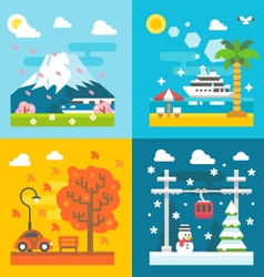 Flat design travel seasons set vector image vector image