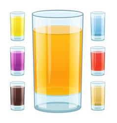 Glass with fresh fruity juice vector image vector image