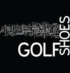 golf shoes text background word cloud concept vector image vector image