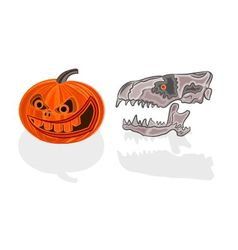 Halloween decoration pumpkin and skull vector image