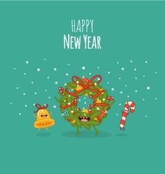 Happy newyear card christmas wreath vector