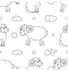 Happy sheep flying in the clouds vector