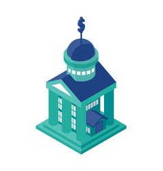 Isometric bank building object or icon - element vector