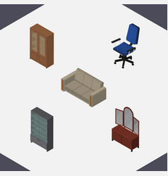 Isometric furnishing set of sideboard office vector