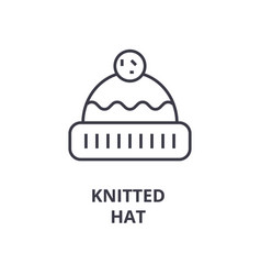 knitted hat line icon outline sign linear symbol vector image vector image