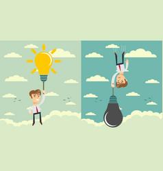 man with idea bulb as balloon set stock flat vector image
