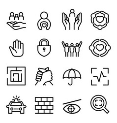 protection icon set in thin line style vector image vector image