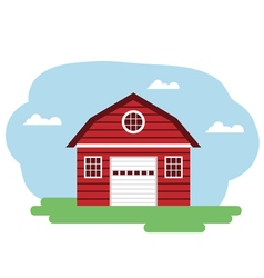 red farm building vector image