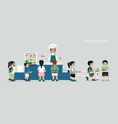 school cafeteria vector image vector image