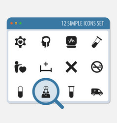 set of 12 editable health icons includes symbols vector image vector image