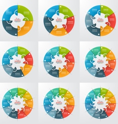 Set of 4 12 steps pie chart circle infographic vector
