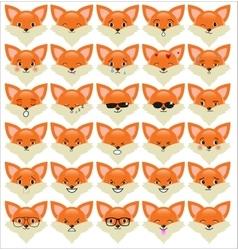 Set of funny fox emoticons vector