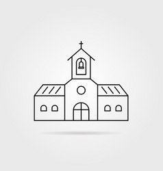 thin line black church with shadow vector image