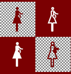 Women and baby sign bordo and white icons vector