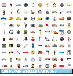 100 repair filled car icons set cartoon style vector