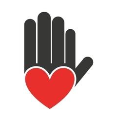 Hand fingers stop handprint icon vector