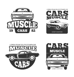 Classic muscle car vintage labels logo vector