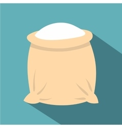 Linen sack full of flour icon flat style vector