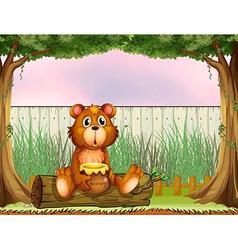 A bear above a trunk holding a honey vector image