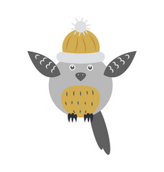 Owl bird in knitted cap with raised wings isolated vector