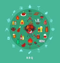 Barbecue circle composition vector