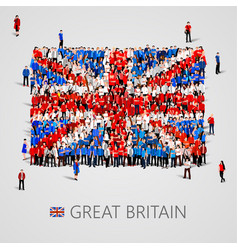 Large group of people in the great britain flag vector