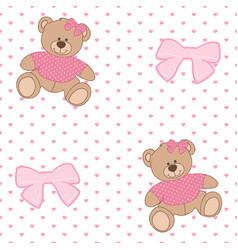 Pattern bear ribbon vector