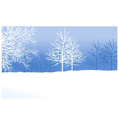 Snowy winter landscape with tree vector
