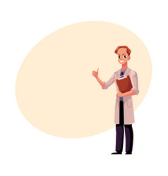 male doctor in medical coat holding clipboard vector image