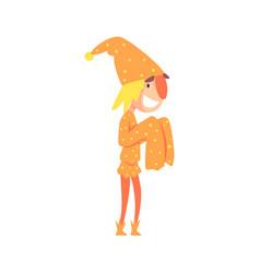 Funny jester in an orange medieval costume vector