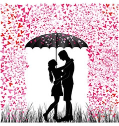 Kissing couple heart rain vector
