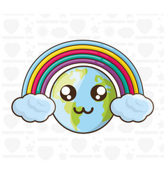 Adorable earth and colorful rainbow vector