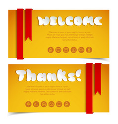 Welcome and thanks greeting cards vector