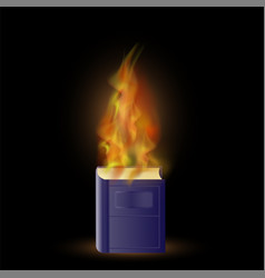burning blue book with fire flame vector image