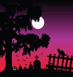 Sweet and beauty cementery with bats vector