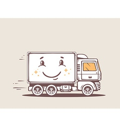 Truck free and fast delivering smile to c vector