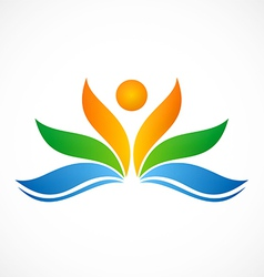 Flower people ecology spa logo vector