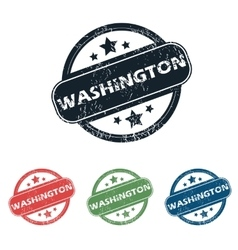 Round washington city stamp set vector